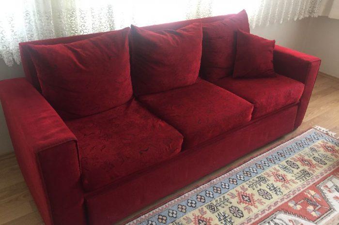 bordo renkli kullanılmış ikinci el kanepe koltuk