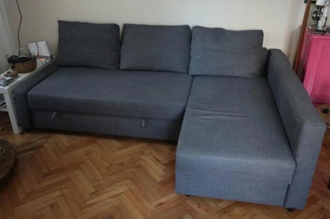 İKİNCİ EL TEMİZ DURUMDA IKEA FRIHETEN bazalı yataklı köşe kanepe