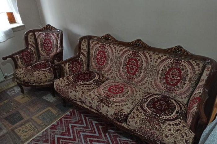 Oyma el işçiliği eski tip klasik 3 lü ve tekli koltuk